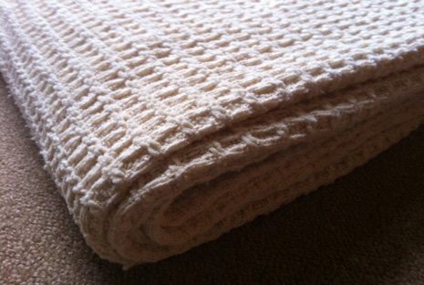 chenille waffle organic blanket