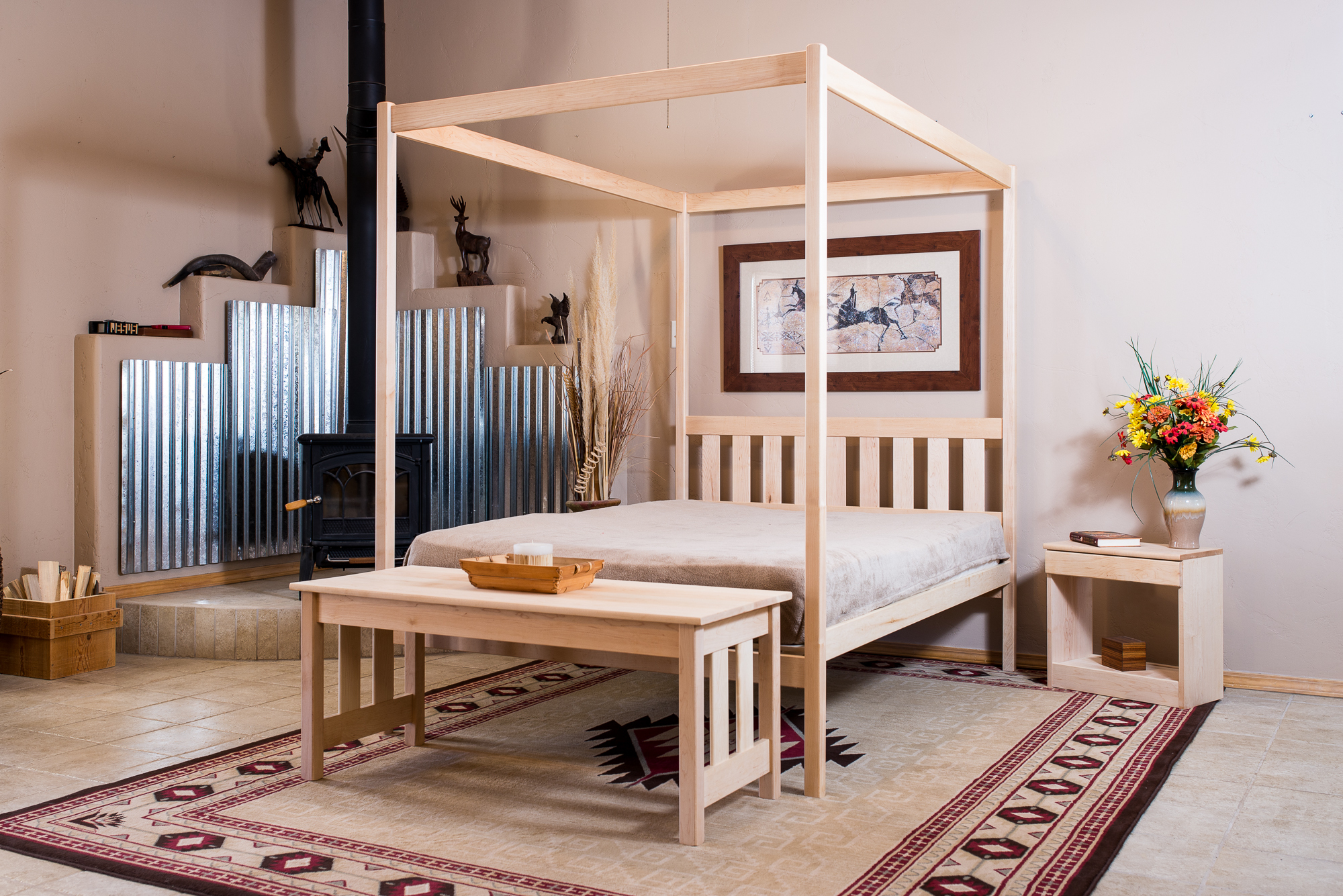 Nomad Furniture Capitan 4 Poster Bed In Oak Or Maple